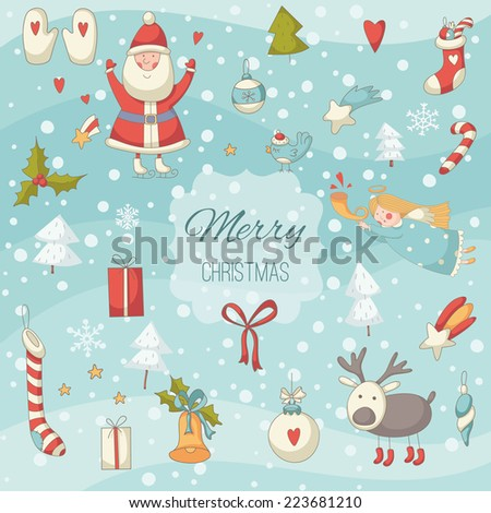 Cute colorful Christmas set with Santa Claus. EPS 10. Transparency. No gradients. - stock vector