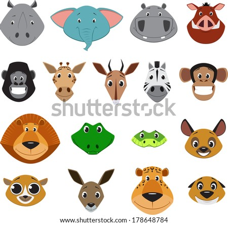 Cute colorful exotic animals collection - stock vector