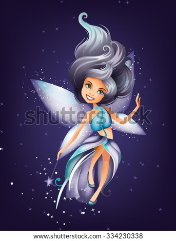 Cute colorful fairy character with magic wand and stars - stock vector