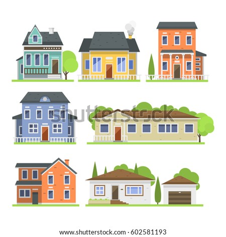 Cute Colorful Flat Style House Village Stock Vector (2018) 602581193 ...