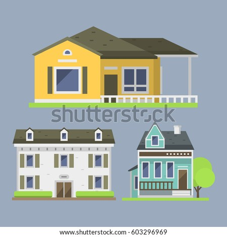 Cute Colorful Flat Style House Village Stock Vector 603296969 ...