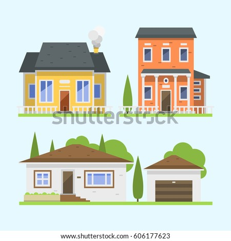 home design construction construction floorplan design cute colorful flat style house village symbol real estate cottage - Home Design Construction