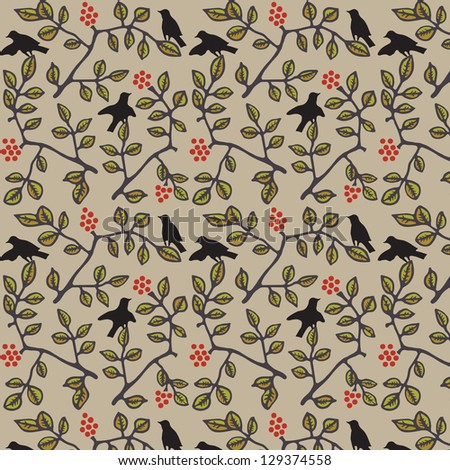 Cute colorful floral seamless pattern with bird./ Garden - stock vector