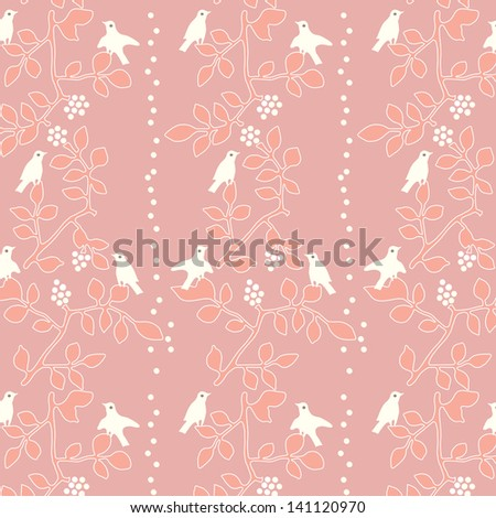 Cute colorful floral seamless pattern with bird./ Garden