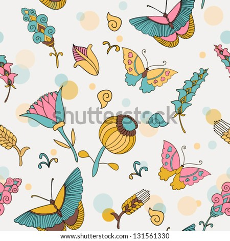 Cute colorful floral seamless pattern with butterflies - stock vector