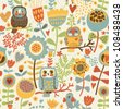 Cute colorful floral seamless pattern with owl and bird - stock photo