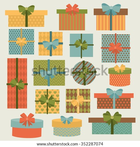 Cute colorful gift boxes,presents. Vector set - stock vector