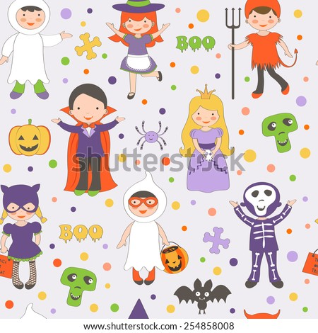 Cute colorful Halloween kids pattern. Vector illustration - stock vector