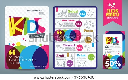 Cute colorful kids meal menu vector template  - stock vector