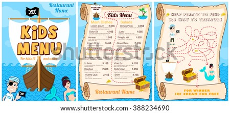 Cute colorful kids meal menu with pirates, game, mermaid. Vector template - stock vector
