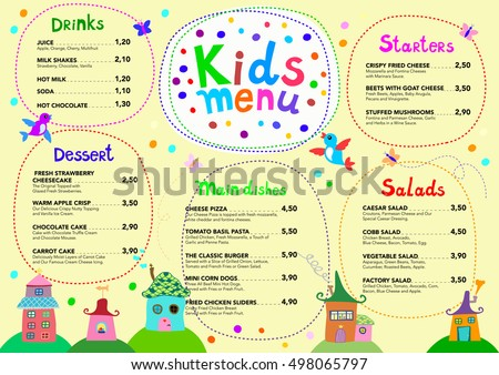 Kids menu stock images royalty free images vectors shutterstock cute colorful meal kids menu template vector illustration pronofoot35fo Images
