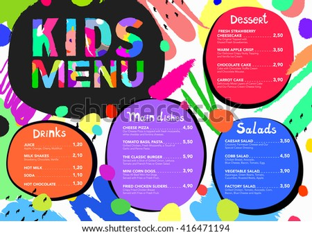 Cute colorful meal kids menu template stock vector 416471194 cute colorful meal kids menu template with brush strokes and colorful splashes pronofoot35fo Gallery