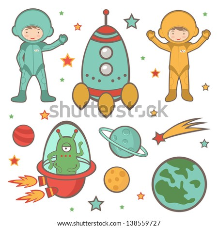 Cute colorful outer space collection