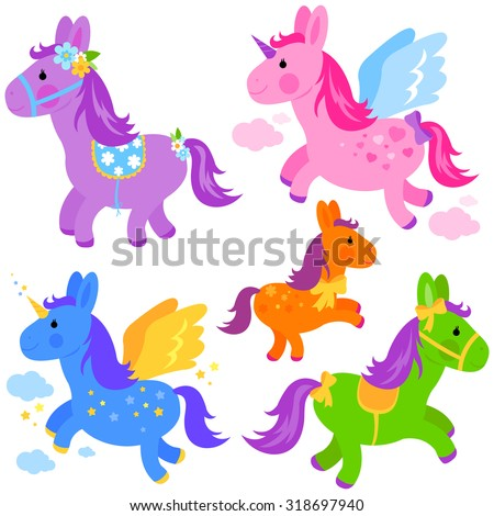 Cute colorful pony collection. - stock vector