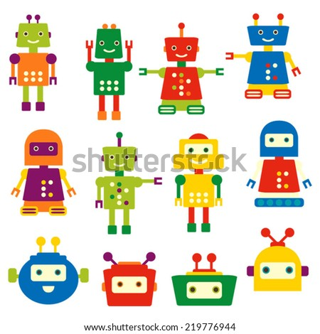 Cute colorful robot vector clip art.