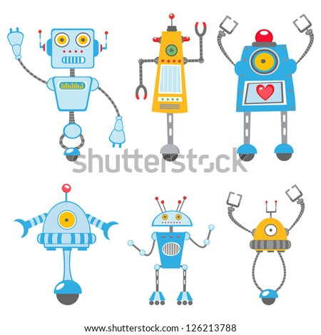 Cute colorful  robots collection - stock vector
