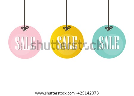 cute colorful sale price tags labels stock vector 425142373