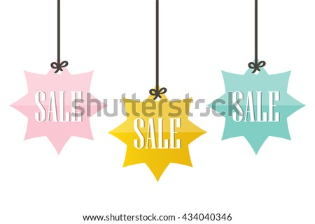 cute colorful sale price tags labels stock vector 434040346