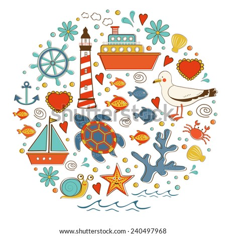 Cute colorful sea collection with various elements. Vector illustration