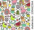 Cute colorful seamless childish pattern - stock vector
