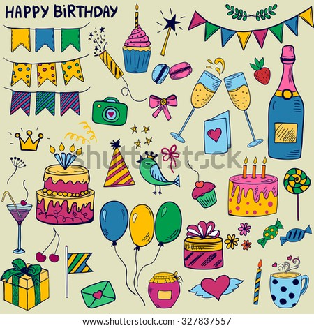 Cute colorful set of birthday party elements in doodle style