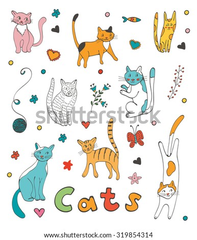 Cute colorful set  of hand drawn cats with twigs flowers and leaves. Illustration in vector format