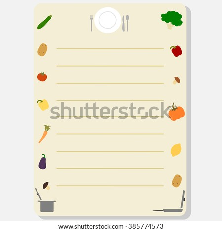 Cute Colorful Template Frame Recipe Book Stock Vector 385774573 ...