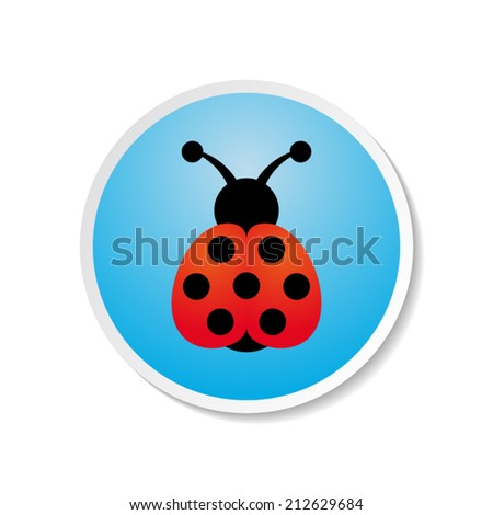 Cute colorful vector ladybird icon on blue label - stock vector