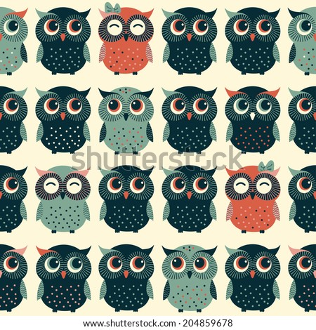 Cute colorful vector with owls. Seamless pattern - stock vector
