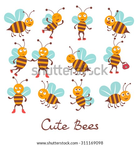 Cute colorfulbee characters set illustration in vector format - stock vector