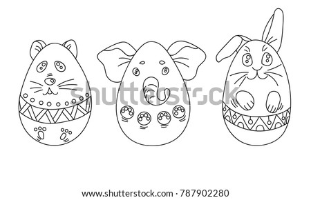 Cute Coloring Set With Easter Eggs In A Shape Of Animals Ornaments