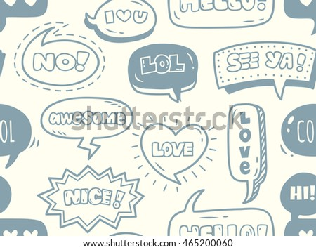 cute comic speech bubble doodle background