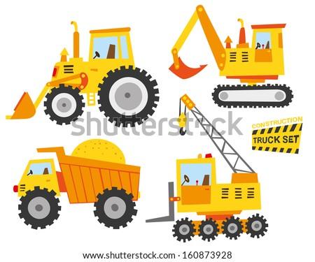 cute constructions truck set - stock vector