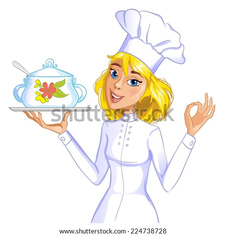 Cute cook girl with a tray and saucepan  - stock vector