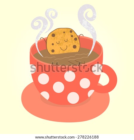 Cute cookie relaxing in hot red cup of tea. Vector illustration. - stock vector