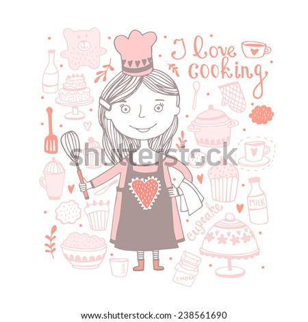 Cute cooking girl with set of kitchen - stock vector