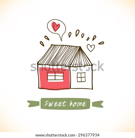 Cute countryside card with houses and trees. Grunge drawn banner - stock vector