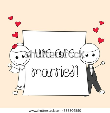 cute couple doodle with we are married sign