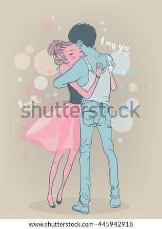 cute couple embrace - stock vector