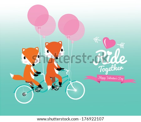 Cute couple foxes ride tandem bicycle. Valentine's Day.