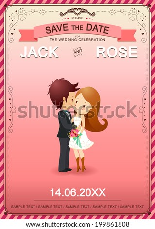Cute couple kissing on wedding card vector illustrator - stock vector