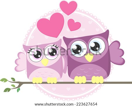 cute couple of loving owls isolated on white background - stock vector