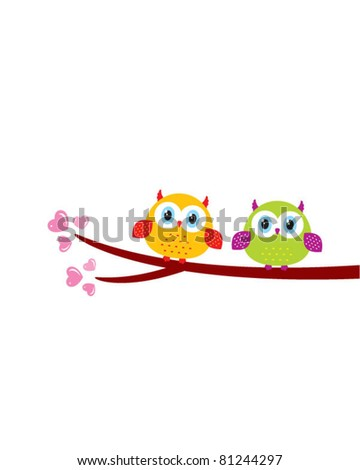 cute couple owl doodle - stock vector