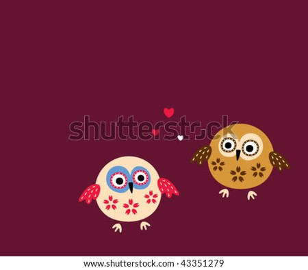 cute couple owl greeting card