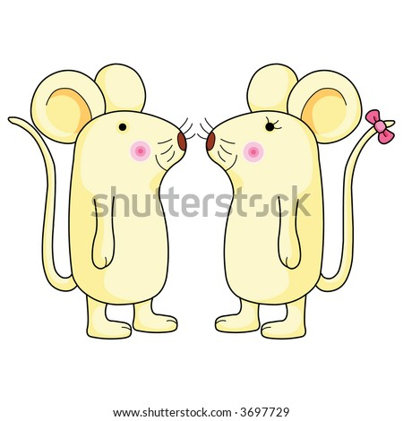 Cute couple rat vertor illustration.