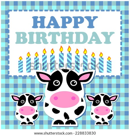 Cute Cow Birthday Card Stock Vector Royalty Free 228833830