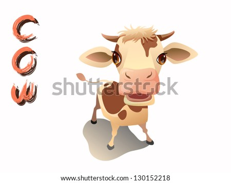 cute cow cartoon vector standing on white background