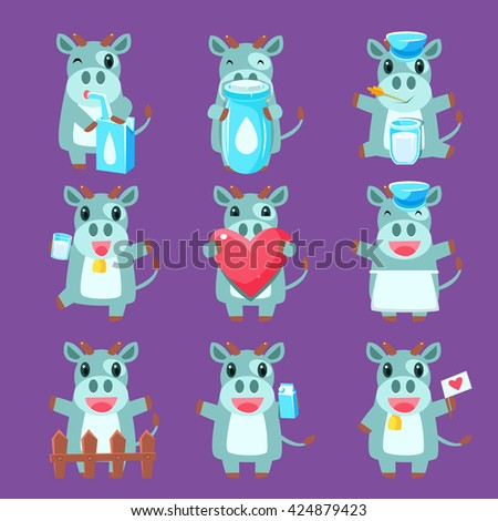 Cute Cow Character Set Of Flat Childish Simple Style Vector Drawings Isolated On Dark Background