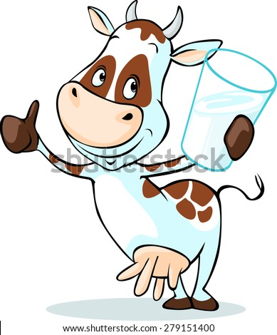 cute cow hold glass of milk - isolated on white background - stock vector