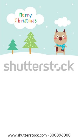 cute cow merry christmas greeting card vector - stock vector